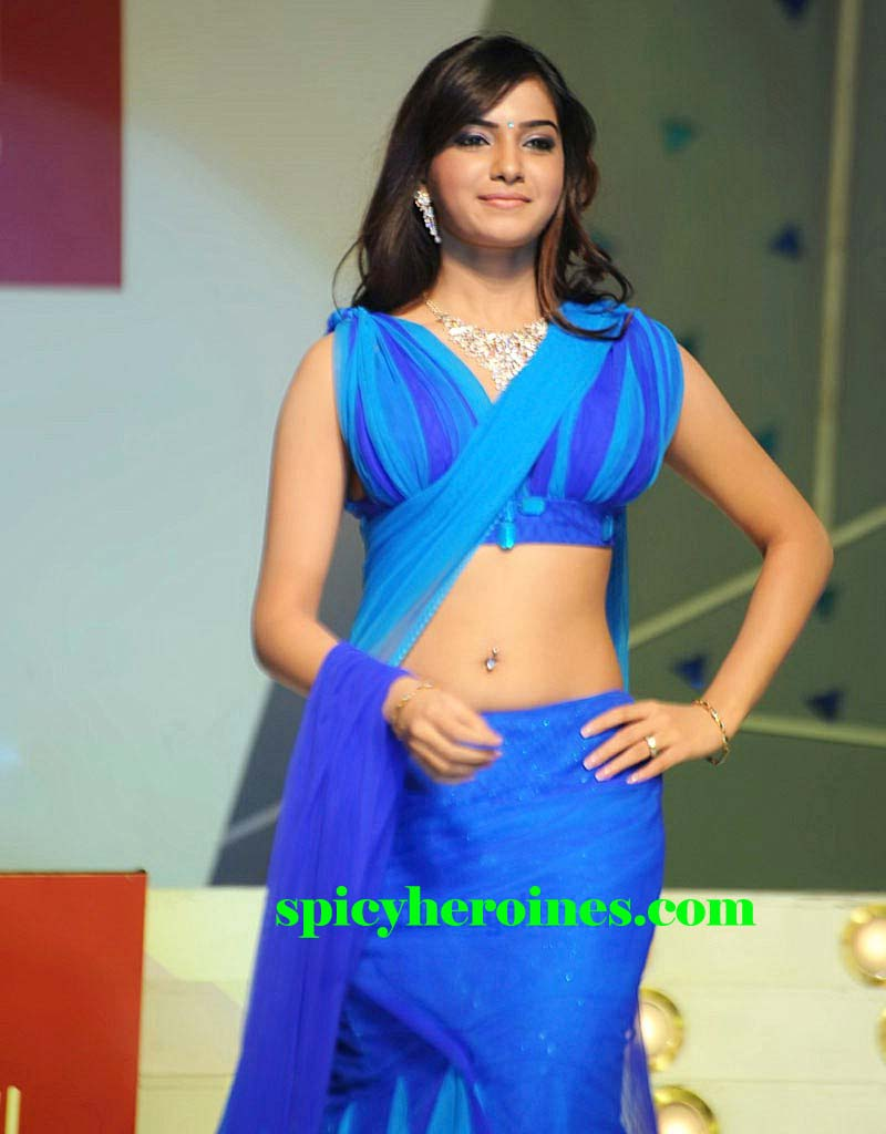 Telugu Cute Actress Samantha In Blue Saree S